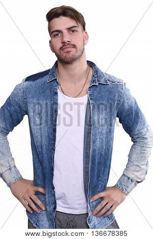 Close up to attractive young man against isolated white background.