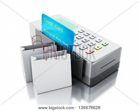 3d renderer image. Credit card and card reader with shopping bags. Isolated white background.