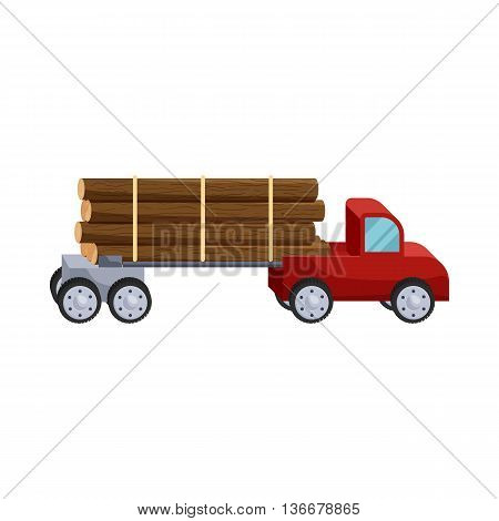 Logging truck logs icon in cartoon style isolated on white background. Felling symbol