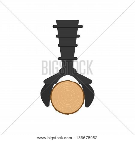 Hydraulic crane with log icon in cartoon style isolated on white background. Felling symbol