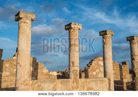 Ancient Columns. Paphos, Cyprus. Kato Paphos Archaeological Park
