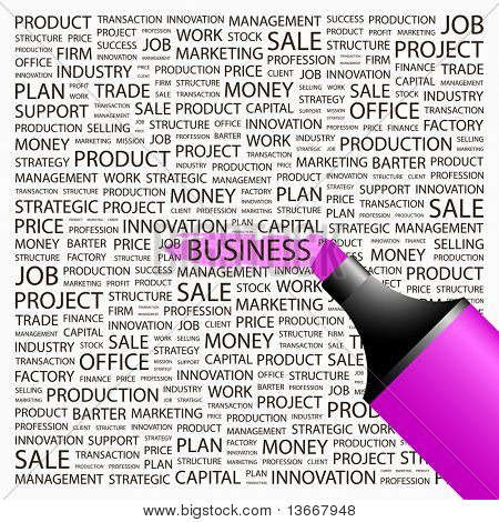 BUSINESS. Highlighter over background with different association terms. Vector illustration.