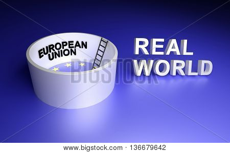 European Union and Real world. 3D rendering.