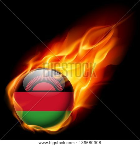 Flag of Malawi as round glossy icon burning in flame