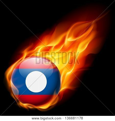 Flag of Laos as round glossy icon burning in flame