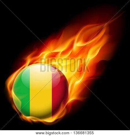 Flag of Mali as round glossy icon burning in flame