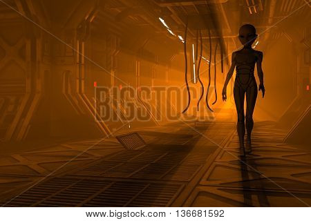 Sci-Fi 3d illustration with alien in front of damaged flaming space station corridor.