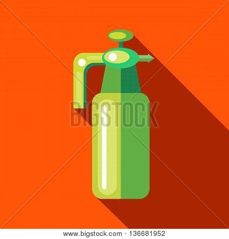 Pressure garden sprayer bottle icon in flat style on a orange background