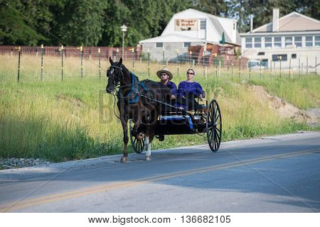 Lancaster, Usa - June 25 2016 - Amish People In Pennsylvania