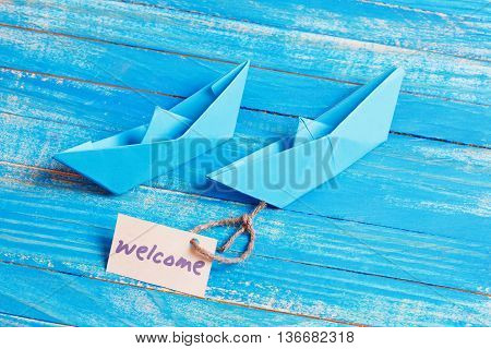 Welcome Tag with Boats. Welcome Tag with Boats. Travel concept background