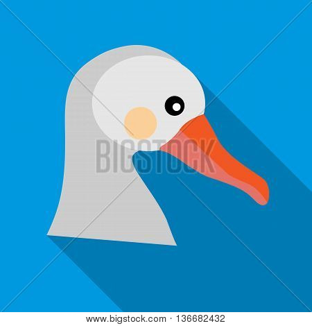 White goose icon in flat style on a sky blue background