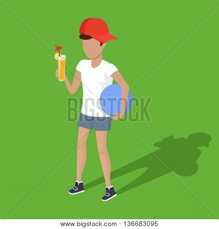 Concept picnic boy with ball and juice design. Child happy happiness in white t-shirt and orange fruit juice in glass, drink and relaxation young person, fresh nutrition tasty, vector illustration