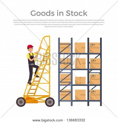 Goods in stock banner design flat. Warehouse stock with a pile of cardboard boxes and package boxes. Delivery and shipping cargo, logistic to storehouse, merchandise box, vector illustration