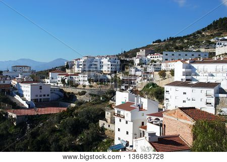 General view of the town Canillas de Aceituno Andalusia Spain Western Europe.
