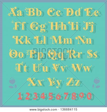 Summer Delicate Alphabet. Artistic font. Yellow letters and red numerals with Floral decor. Illustration