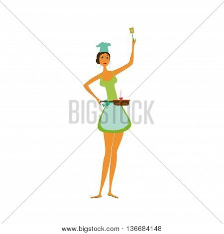 Girl or housewife cooking isolated on white background. Cartoon Young woman cooking.Mother cooking- vector illustration.