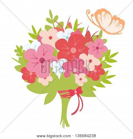 Bouquet of flowers and butterfly. Beautiful flowers bouquet in flat style.
