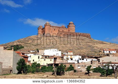 View of the town and castle (Castillo de La Calahorra) La Calahorra Granada Province Andalusia Spain Western Europe.
