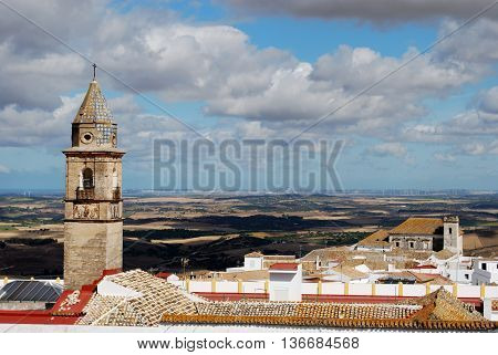 View of white village and surrounding countryside Medina Sidonia Cadiz Province Andalusia Spain Western Europe.