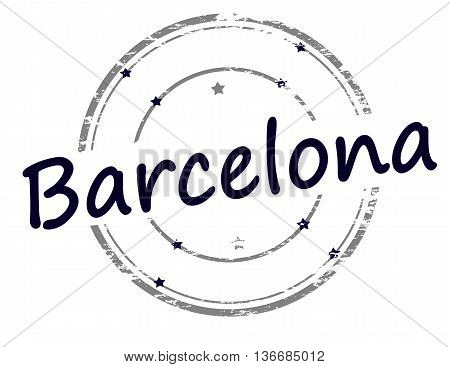 Rubber stamp with word Barcelona inside vector illustration