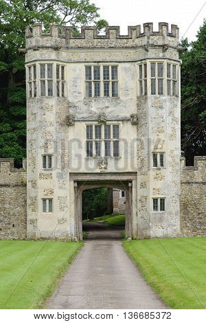 Elizabethan gatehouse of Old Shute House in Devon built in 16 century.