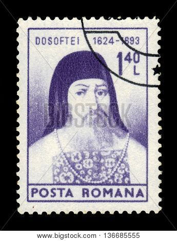 ROMANIA - CIRCA 1975: a stamp printed in the Romania shows Bishop Dosoftei (1624-1693), moldavian metropolitan, scholar, poet and translator, circa 1975