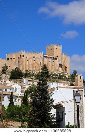View of the castle (castillo de los Fajardo) and townhouses Velez Blanco Almeria Province Andalucia Spain Western Europe.