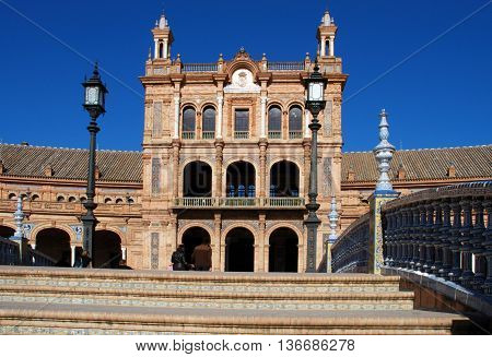 Central building in the Plaza de Espana Seville Seville Province Andalusia Spain Western Europe.