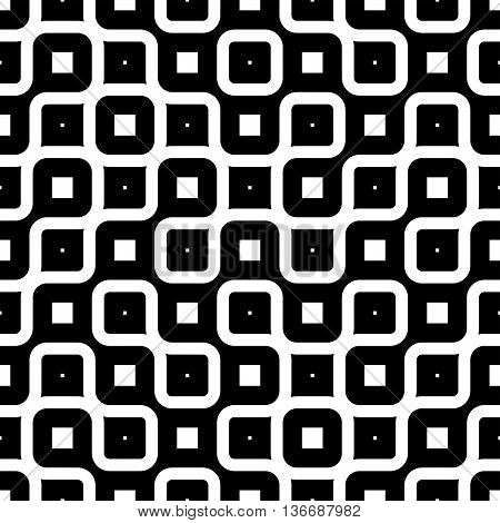 Vector Seamless Black And White Rounded Irregular Endless Maze Lines Pattern Monochrome Abstract Background