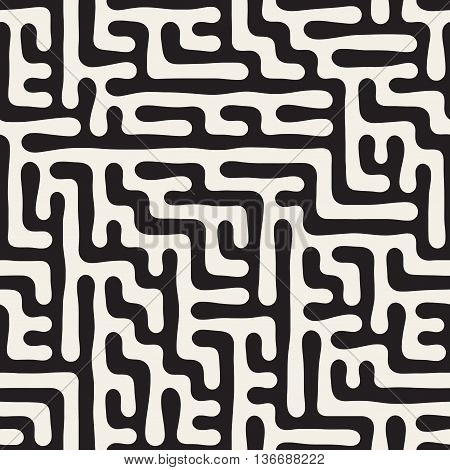 Vector Seamless Black And White Irregular Hand Drawn Maze Lines Geometric Pattern