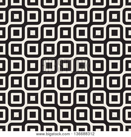 Vector Seamless Black And White Wavy Round Lines Irregular Geometric Pattern