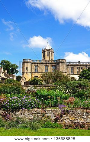 View of Christ Church college and the memorial gardens Oxford Oxfordshire England UK Western Europe.