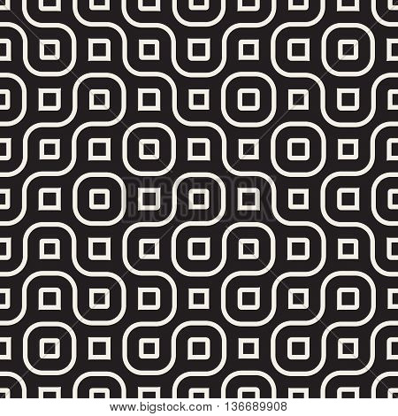 Vector Seamless Black And White Rounded Wavy Lines Irregular Geometric Pattern