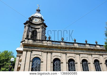 View of St Philips Cathedral and clock tower Birmingham England UK Western Europe.