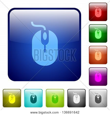 Set of computer mouse color glass rounded square buttons
