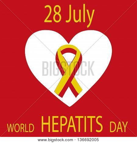 World Hepatitis Day 28 July yellow red ribbon. Vector illustration world day against hepatitis.