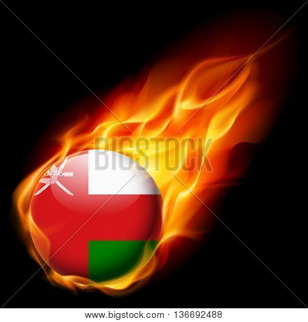 Flag of Oman as round glossy icon burning in flame