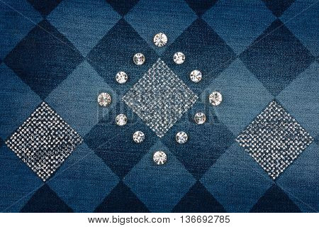 Fashionable background jeans inlaid rhinestones can be used as texture