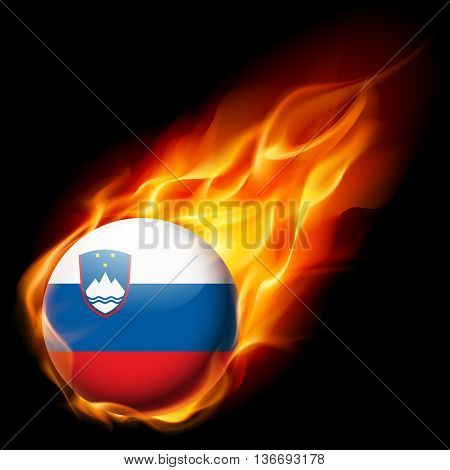 Flag of Slovenia as round glossy icon burning in flame
