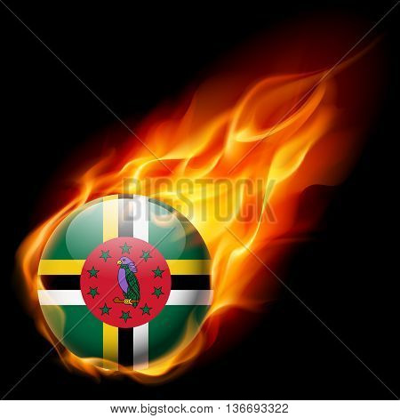 Flag of Dominica as round glossy icon burning in flame