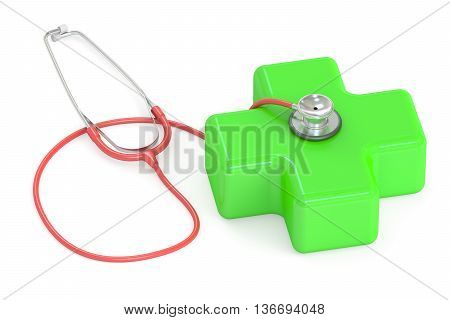 Medical concept stethoscope with green cross. 3D rendering isolated on white background