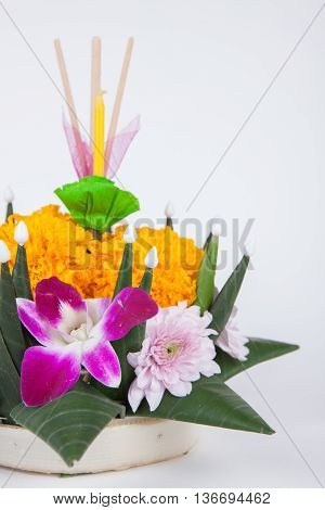 Krathong, The Hand Crafted Floating Candle Made Of Floating Part Decorated With Green Leaves Colorfu