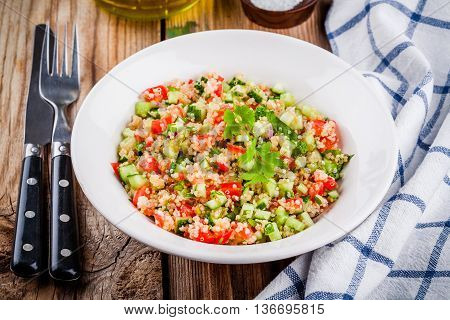 Homemade Tabbouleh Salad With Quinoa And Vegetables
