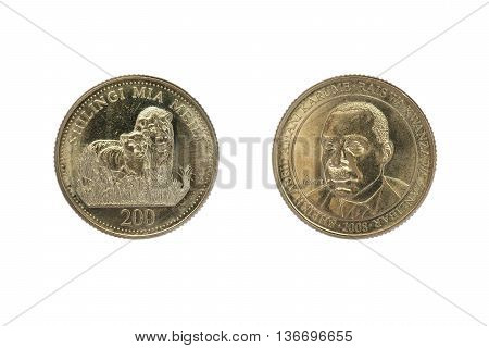 Tanzanian coin of two hundreds shillings value isolated on white background. Obverse and reverse. Heads and tails