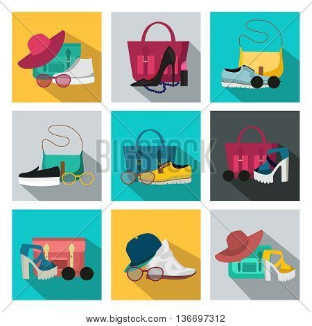 Square isolated colored fashion accessories icon set with womens beauty accessories different styles for all occasions vector illustration