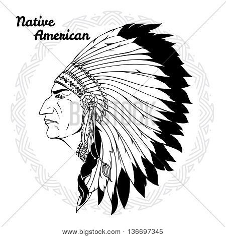 Native american in profile monochrome with headdress of feathers and traditional pattern around vector illustration