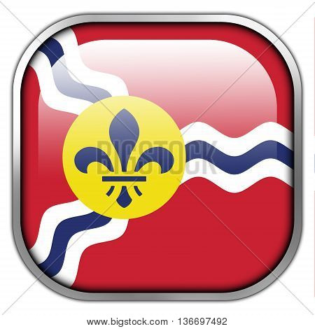 Flag Of St. Louis, Missouri, Square Glossy Button