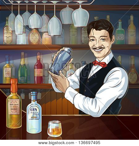 Smiling barman at work with shaker behind counter showcase of alcoholic bottles in background vector illustration