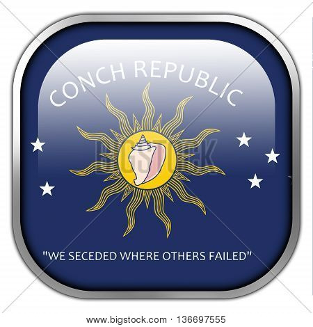 Flag Of The Conch Republic (key West, Florida), Square Glossy Button