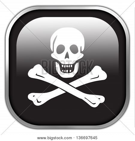 The Traditional Jolly Roger Of Piracy Flag, Square Glossy Button